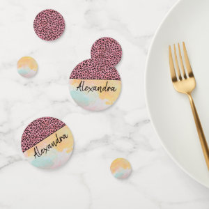 Girly Pink Leopard Watercolor Add Name Confetti