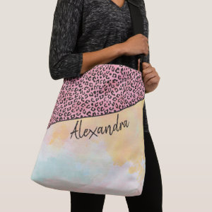 Girly Pink Leopard Watercolor Add Name Crossbody Bag