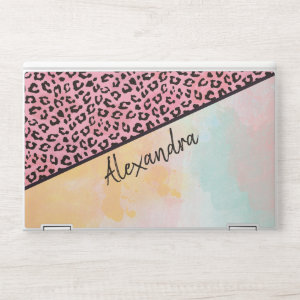 Girly Pink Leopard Watercolor Add Name HP Laptop Skin