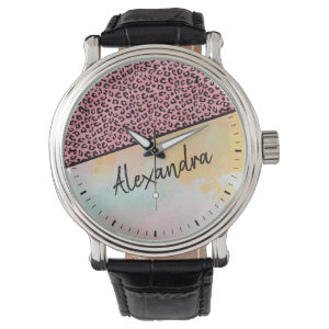 Girly Pink Leopard Watercolor Add Name Watch