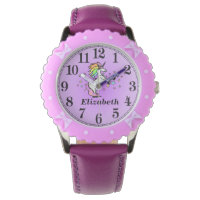 Girly Purple Unicorn and Her Name Wristwatch