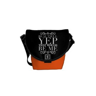 Girly Quotes florescent orange,Black Courier Bag