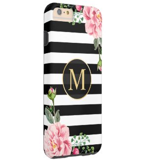 Girly Romantic Floral Black White Stripes Monogram Tough iPhone 6 Plus Case