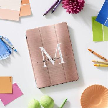 Girly Rose Gold Metallic Foil Monogram Script Name iPad Air Cover