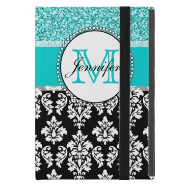 Girly, Teal, Glitter Black Damask Personalized Case For iPad Mini