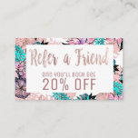 Girly Watercolor Rose Gold Floral Referral Card
