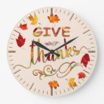 Give Thanks Fall Rustic Thanksgiving Monogram Large Clock