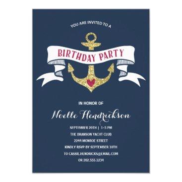 Glam Anchor | Nautical Birthday Party Invitation
