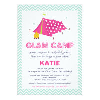 Glam Camp Makeover Girls Birthday Invitation Card