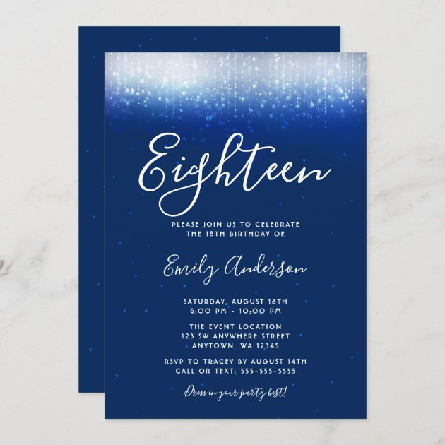 glam navy blue 18th birthday invitation zazzle com