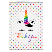 Glam Rainbow Unicorn Thank You Card