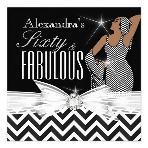 Glamorous Fabulous 60 Chevron Black White Birthday Card