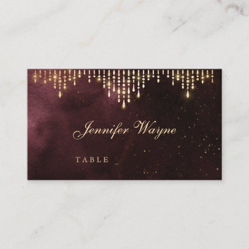 Glamour Deco Burgundy Vintage wedding place cards