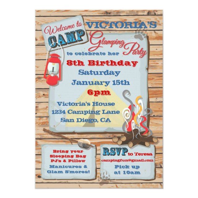 Glamping Camping Party Invitation