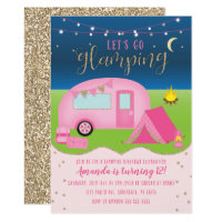 Glamping Girls Camping Birthday Invitation