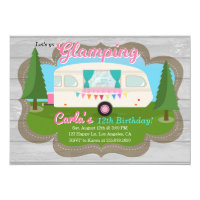 Glamping Girls Camping Birthday Party Invitation