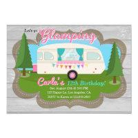 Glamping Girls Camping Birthday Party Invitation