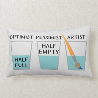 Glass Half Full Funny Meme Lumbar Pillow