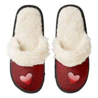Glass Heart on Red Wool Pair Of Fuzzy Slippers