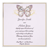 Glitter Butterfly on Lavender Wedding Invitation
