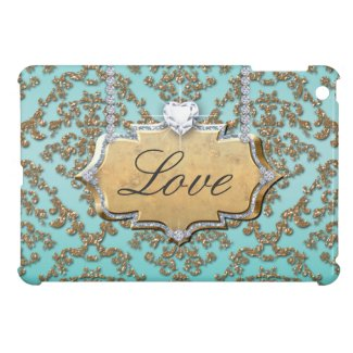 Glitter Damask Love Monogram Ipad Case