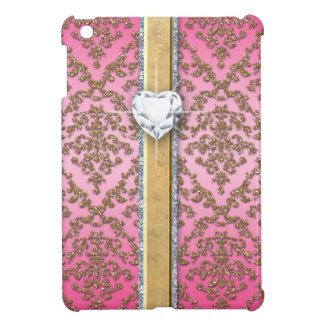 Glitter Damask Pattern Heart Band Ipad Case