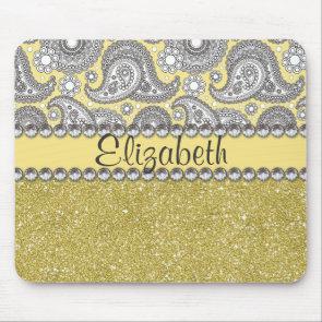 Glitter Paisley Rhinestone Print Pattern Mousepad