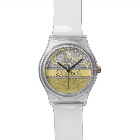 Glitter Paisley Rhinestone Print Pattern Watch