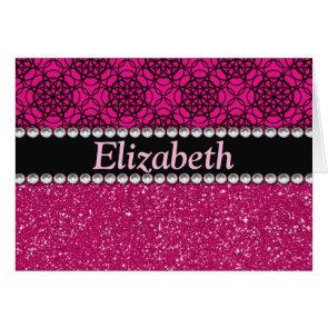 Glitter Pink and Black Pattern Rhinestones Greeting Cards