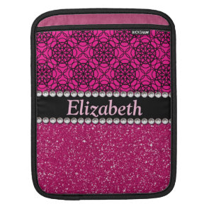 Glitter Pink and Black Pattern Rhinestones Sleeve For iPads