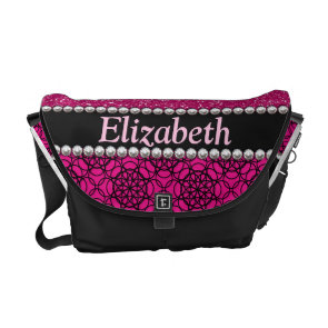 Glitter Pink and Black Pattern Rhinestones Courier Bags