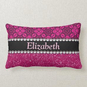 Glitter Pink and Black Pattern Rhinestones Pillow