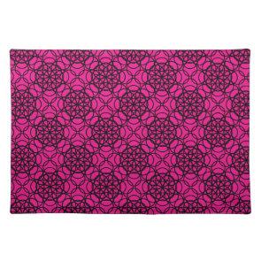 Glitter Pink and Black Pattern Rhinestones Place Mat