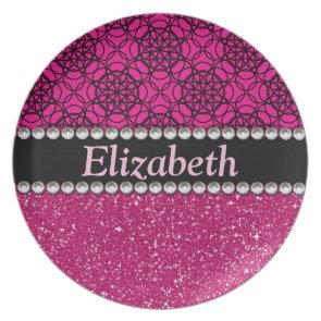 Glitter Pink and Black Pattern Rhinestones Dinner Plates