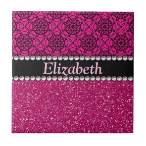 Glitter Pink and Black Pattern Rhinestones Tiles