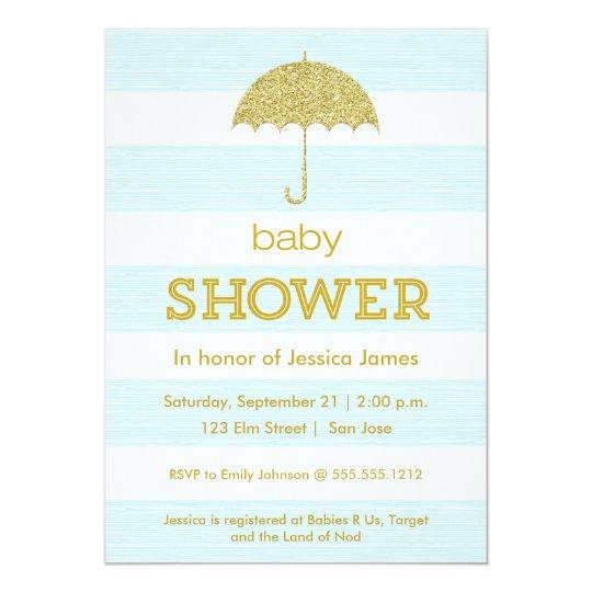 Glitter Umbrella Baby Shower Invitation