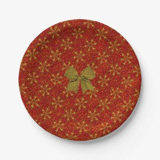 Glittered Christmas 7 Inch Paper Plate