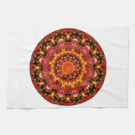 Glittering Gold Mandala, Abstract Red Orange Amber Kitchen Towel