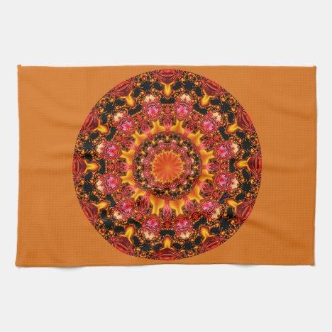 Glittering Gold Mandala, Abstract Red Orange Amber Towel