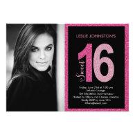 Glittery Sweet 16 Birthday Party Invitations Custom Invitations