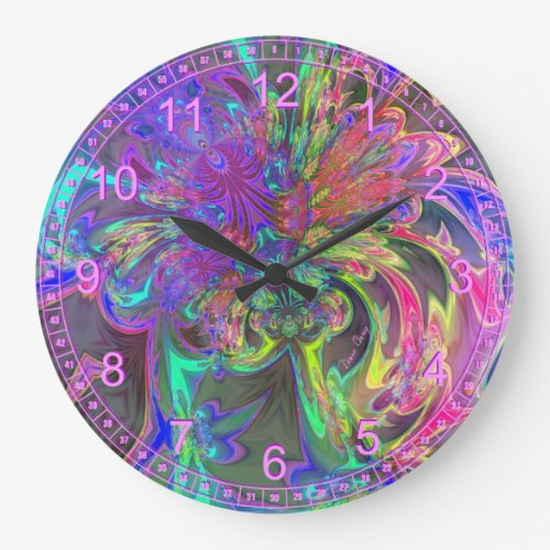 Glowing Burst of Color – Abstract Teal Violet Deva Large Clock
