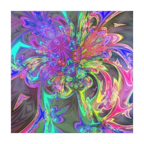 Glowing Burst of Color – Teal & Violet Deva Canvas Print
