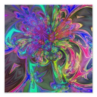 Glowing Burst of Color – Teal & Violet Deva print
