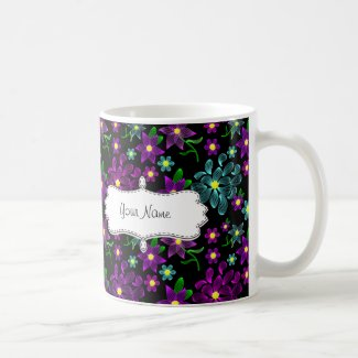 Glowing Linear Neon Flowers Mug