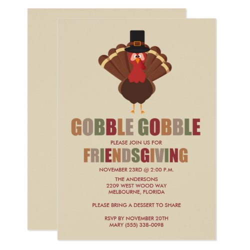 Gobble Gobble Turkey Friendsgiving Dinner Invite