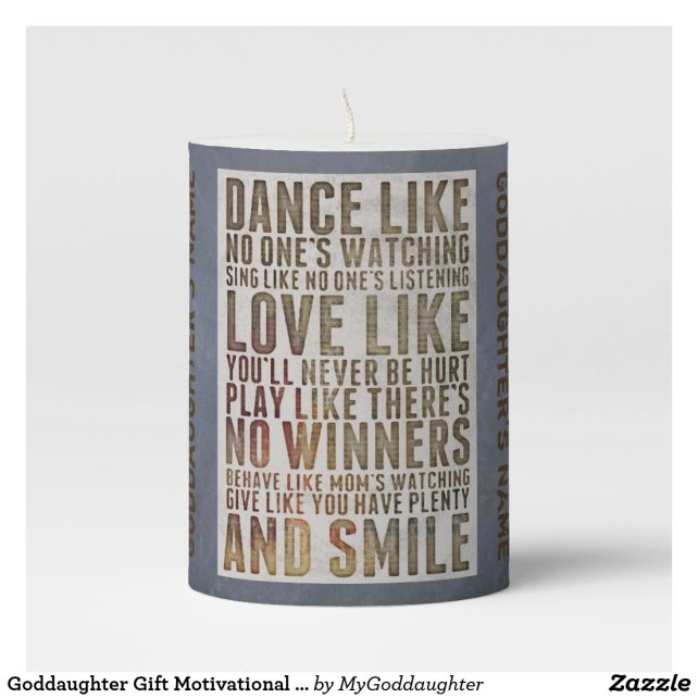 Goddaughter Gift Motivational Angel Personalized Pillar Candle