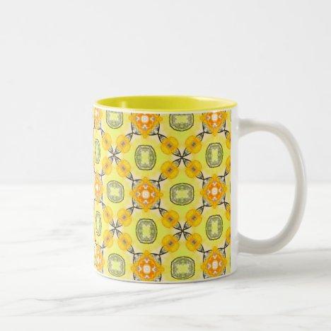 Gold Abstract Modern Yellow Amber Flowers Two-Tone Coffee Mug