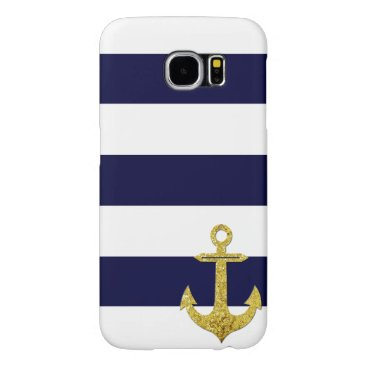 Gold anchor nautical stripes samsung galaxy s6 case