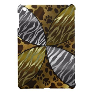 Gold and Black Metal Texture Animal,Print Cover For The iPad Mini