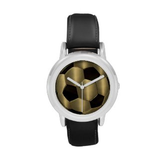 Gold and Black Soccer Ball Wristwatch